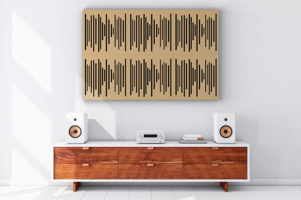 Panneaux accoustiques Vicpattern bruns sur le mur du salon