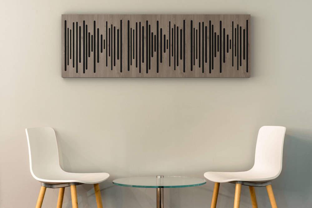 Panneaux acoustiques Vicpattern blancs sur le mur de la salle à manger